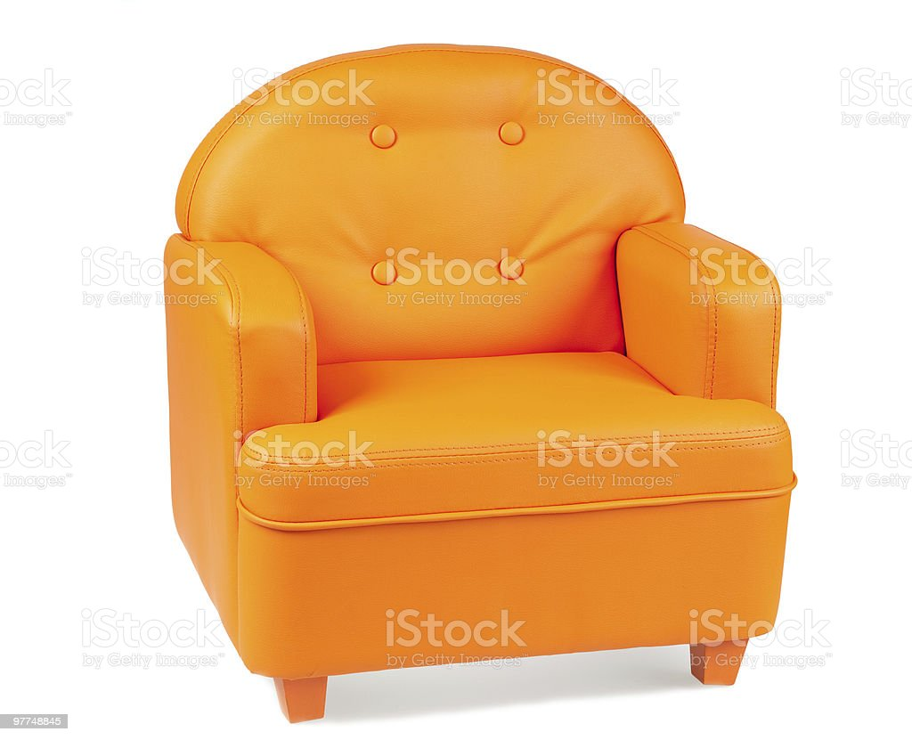 Leather Armchair of orange colour isolated on white stock photo