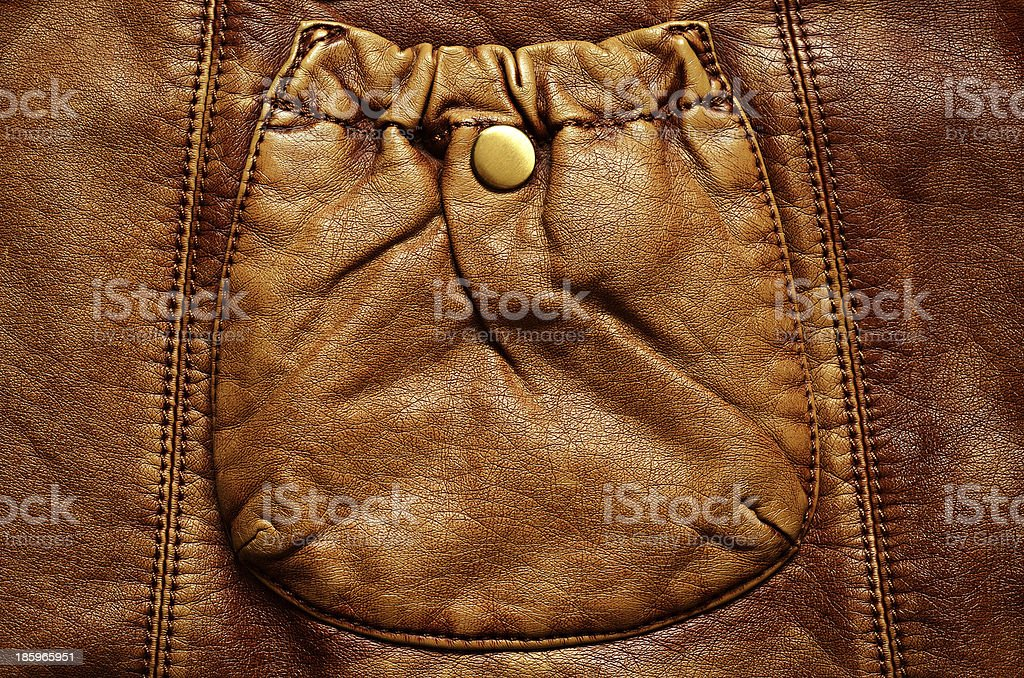 Leather background with pocket royalty-free stock photo