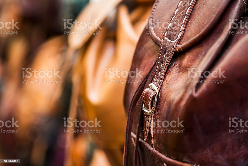Leather backpack detail. stock photo