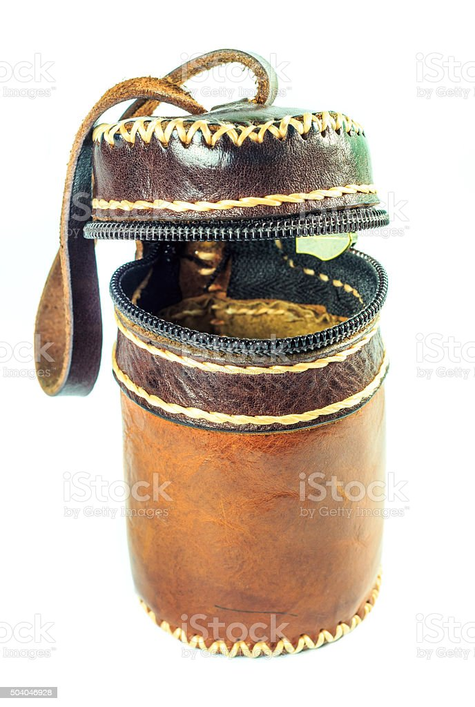leather bag cylinder brown stock photo