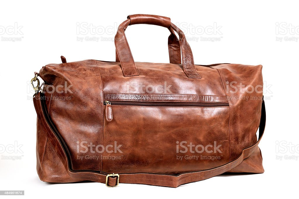 leather bag isolated on white stock photo