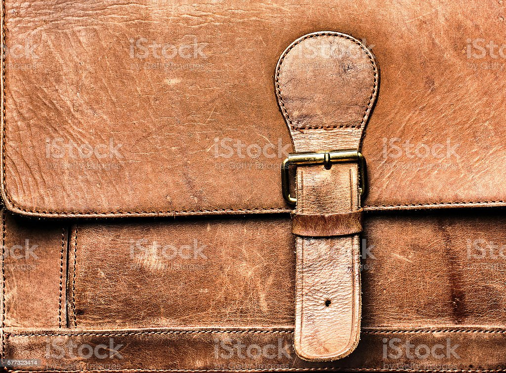 Leather bag with the lock. stock photo