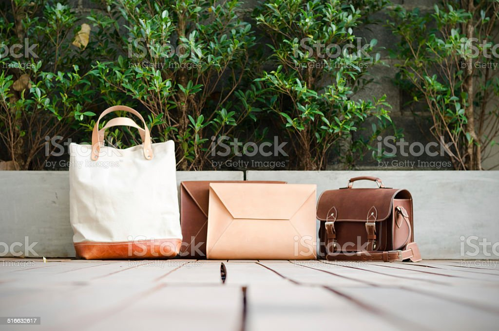 Leather Bags Collection stock photo
