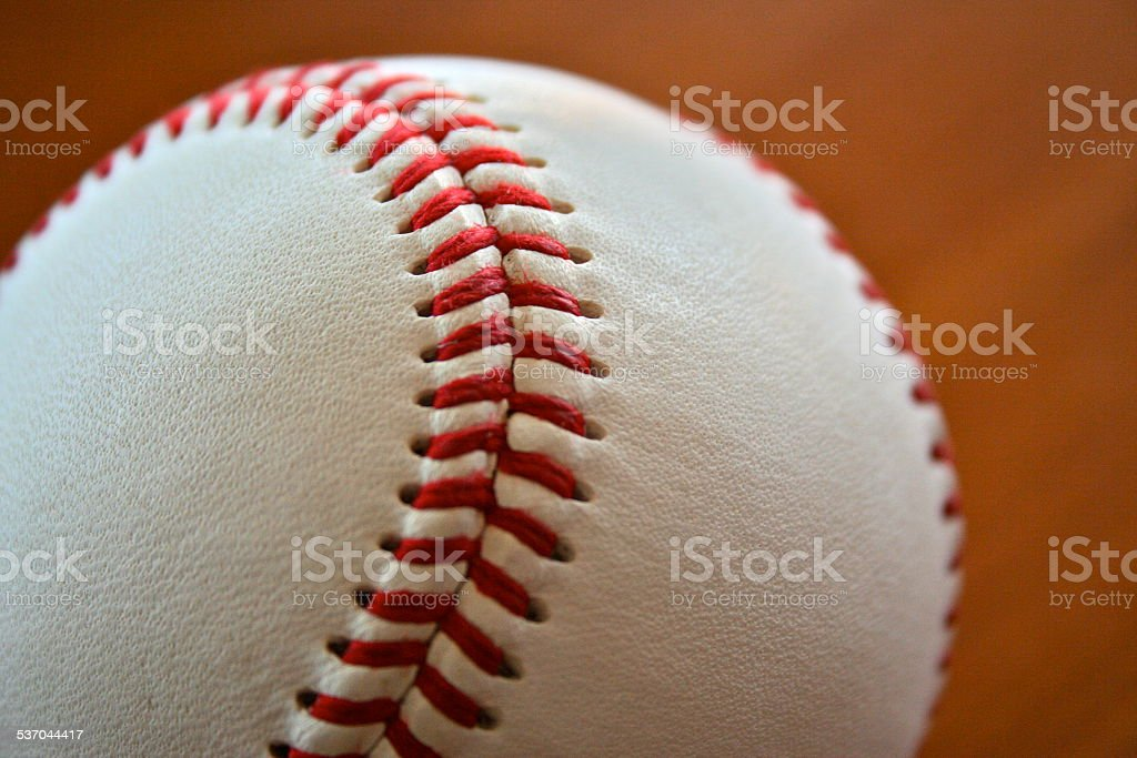 Leather Baseball and Red Seems stock photo