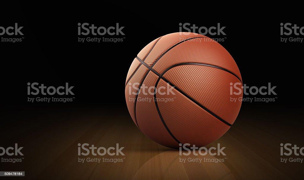 Leather Basketball Ball On Hardwood Floor stock photo