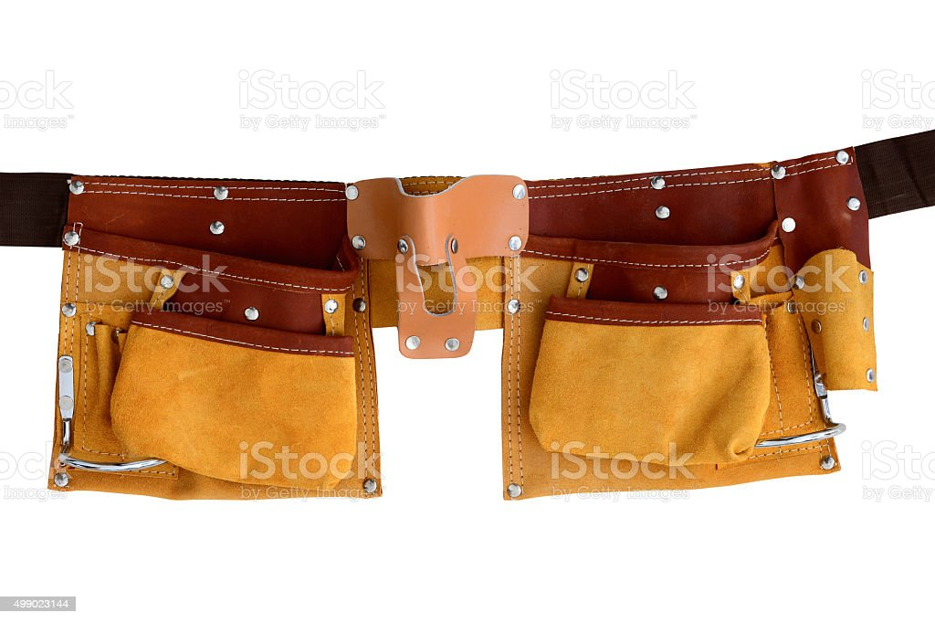 Leather belt for tools stock photo