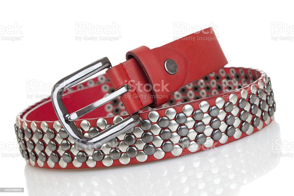Leather belt isolated on the white stock photo