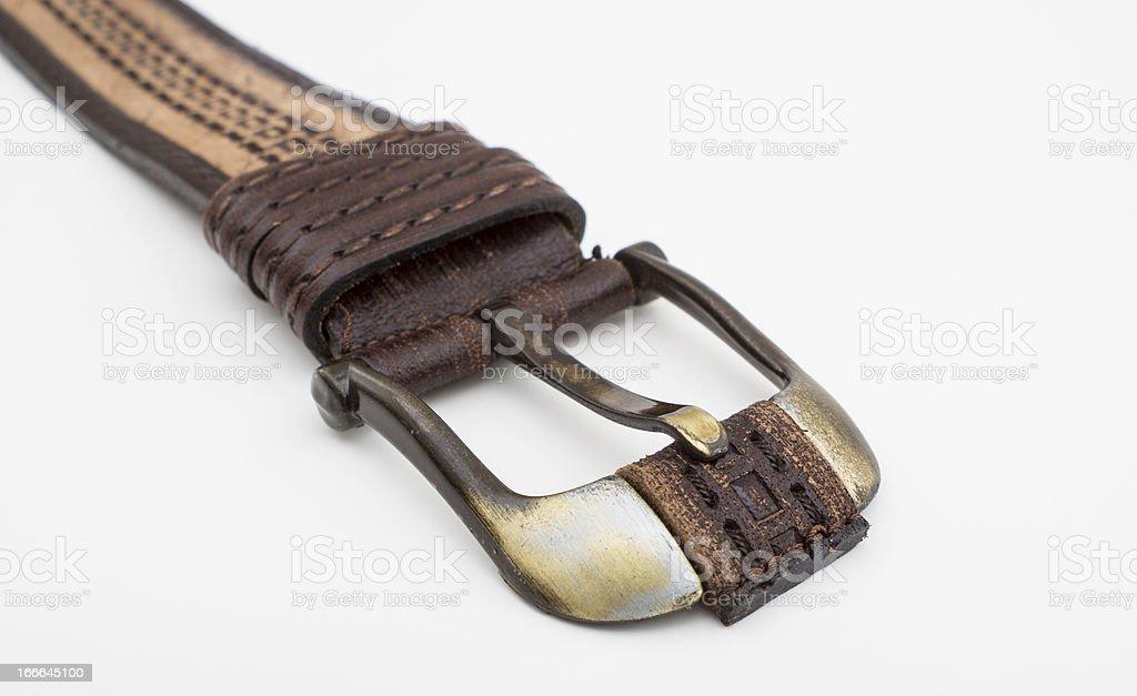 Leather belt  isolated on white royalty-free stock photo