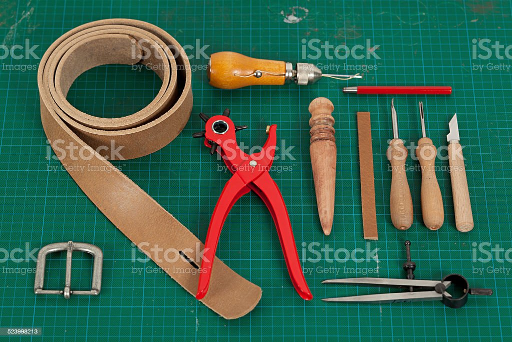 Leather Belt Making Supplies stock photo