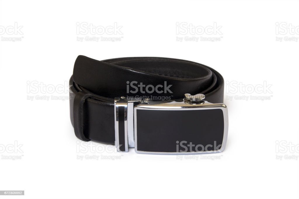 Leather belt on a white background stock photo