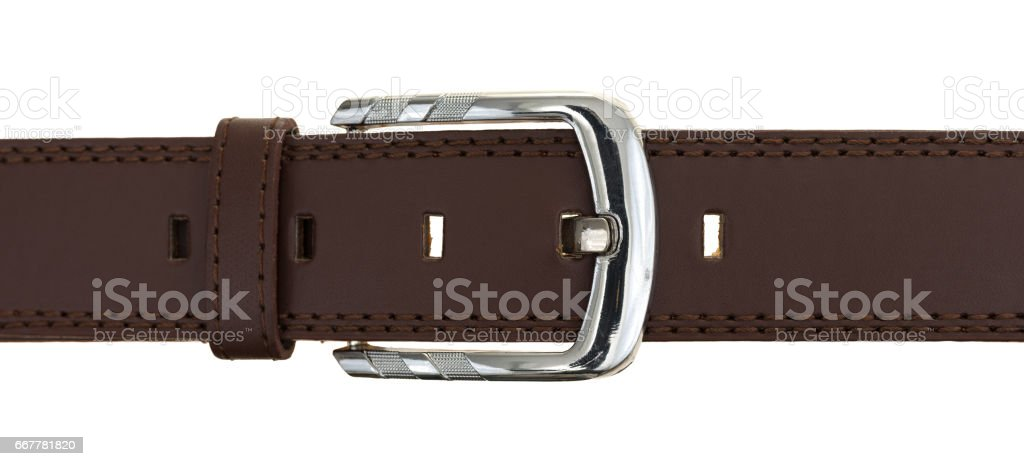 Leather belt with a silver buckle stock photo