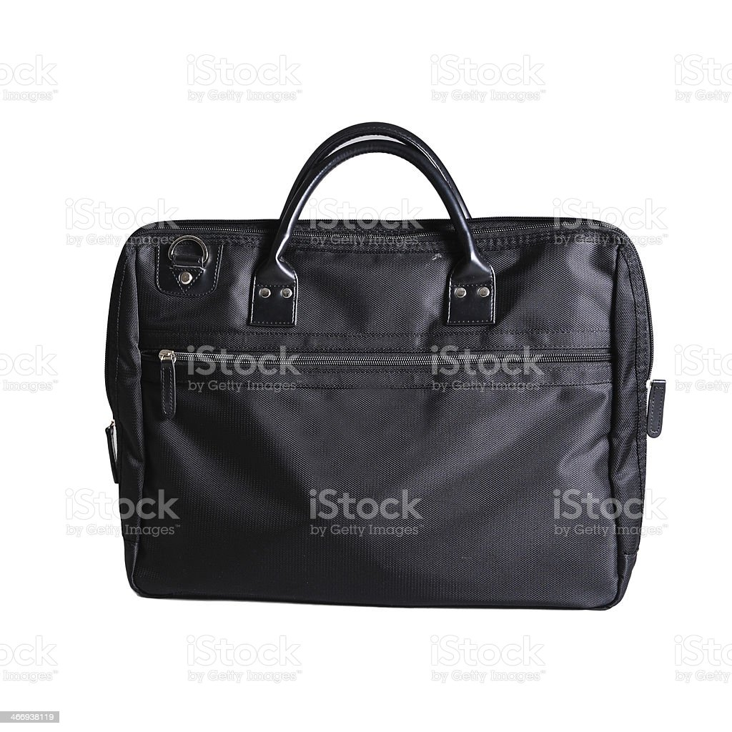 Leather black briefcase isolated on white background stock photo