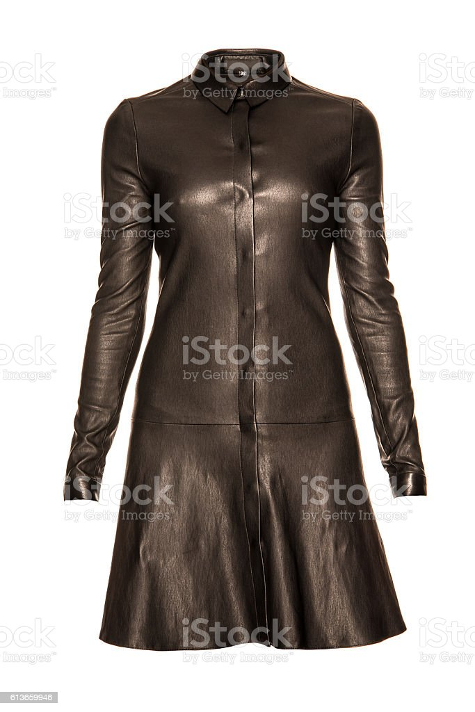 leather black  dress on a white background stock photo