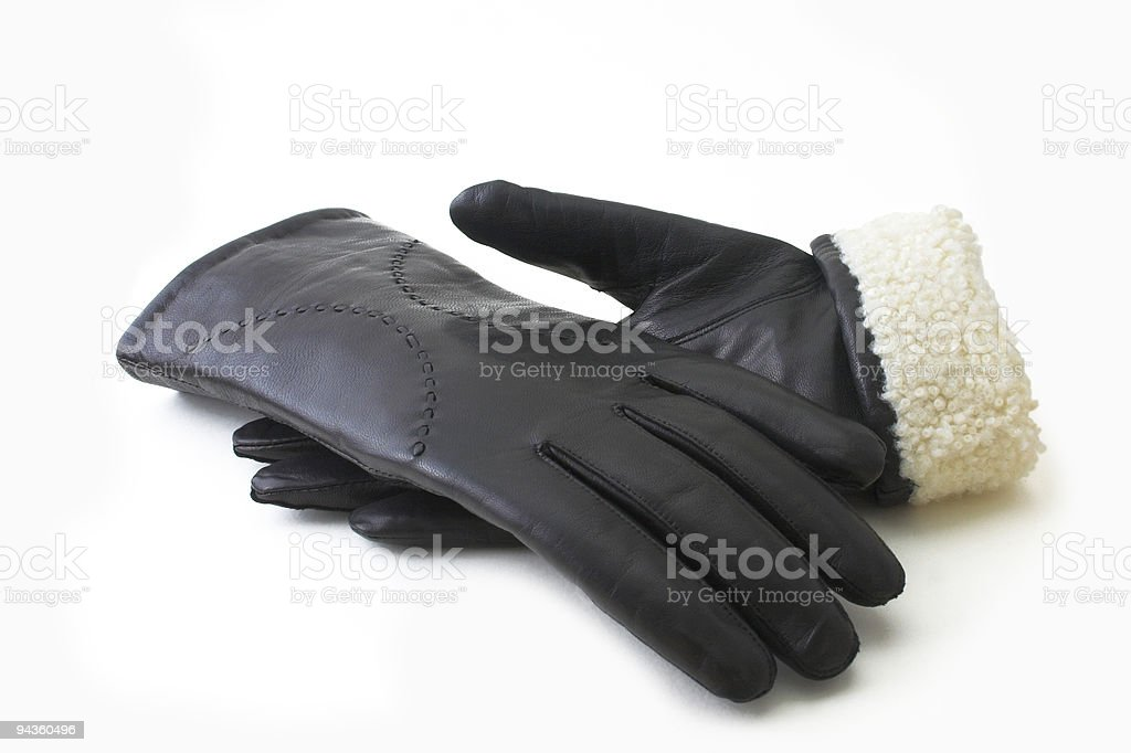 Leather black gloves royalty-free stock photo
