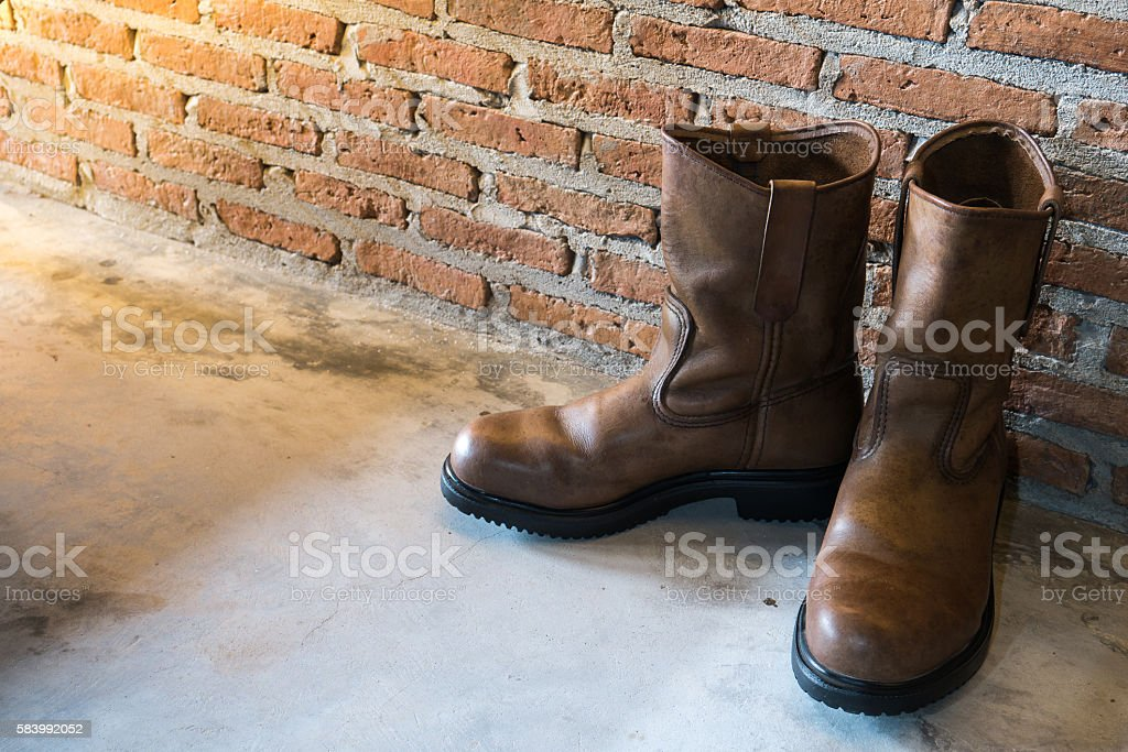 Leather boots stock photo