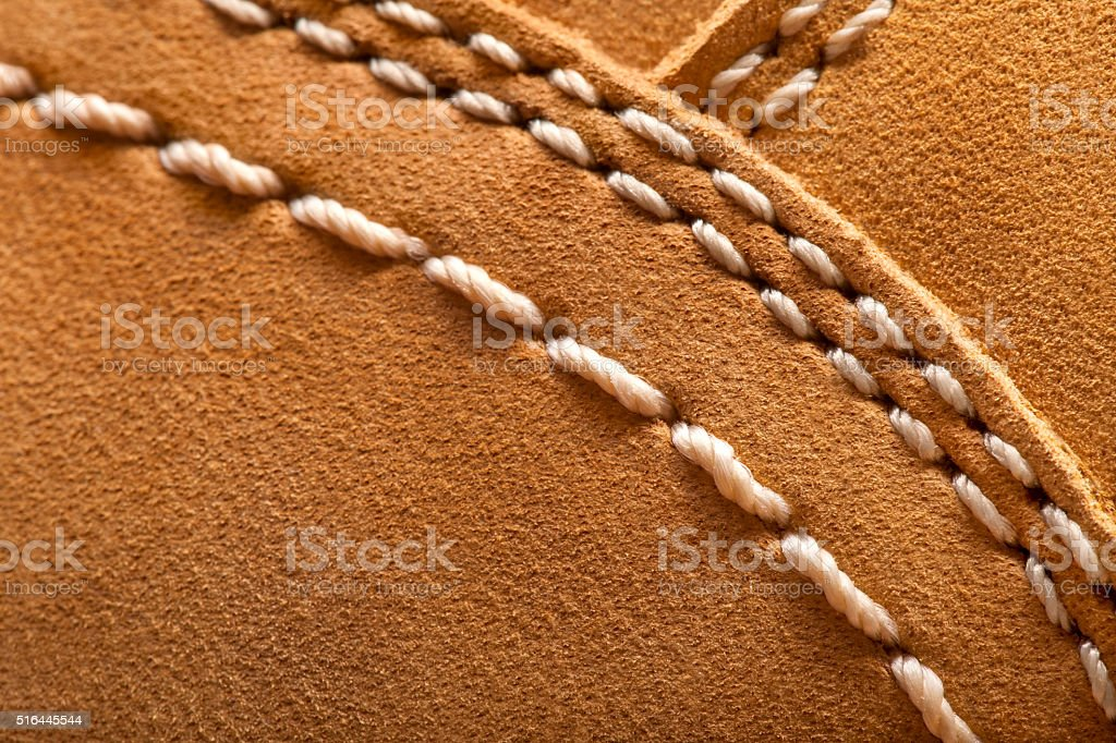 leather boots stitched thread stock photo
