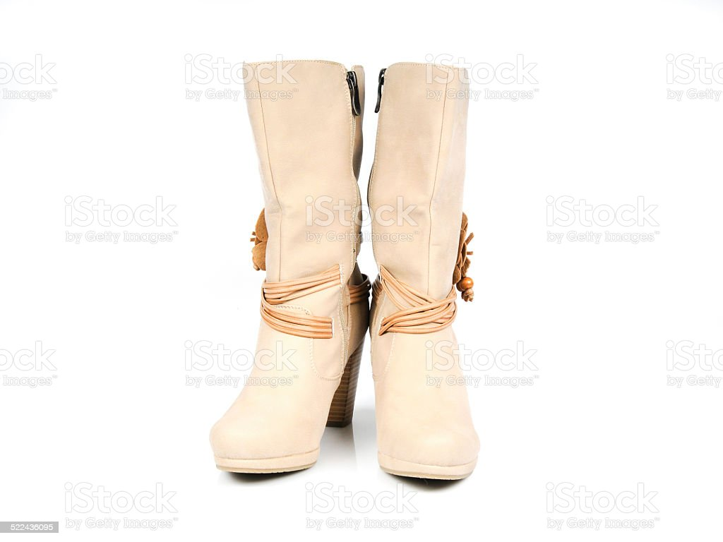 Leather boots with flower and leather strips. Front View. stock photo