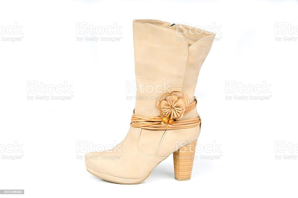 Leather boots with flower and leather strips. Profile View. stock photo