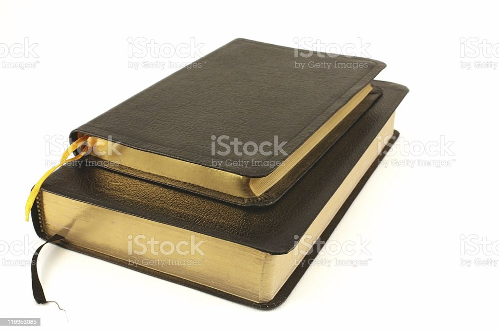 Leather bound books over white stock photo