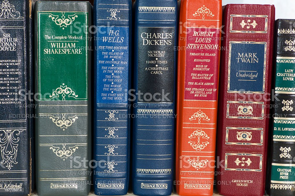 Leather Bound Books. stock photo