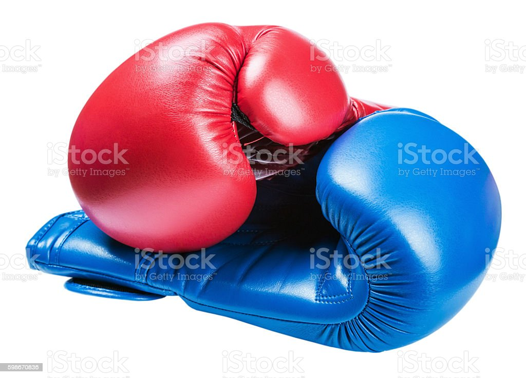 leather boxing gloves blue and red isolated stock photo