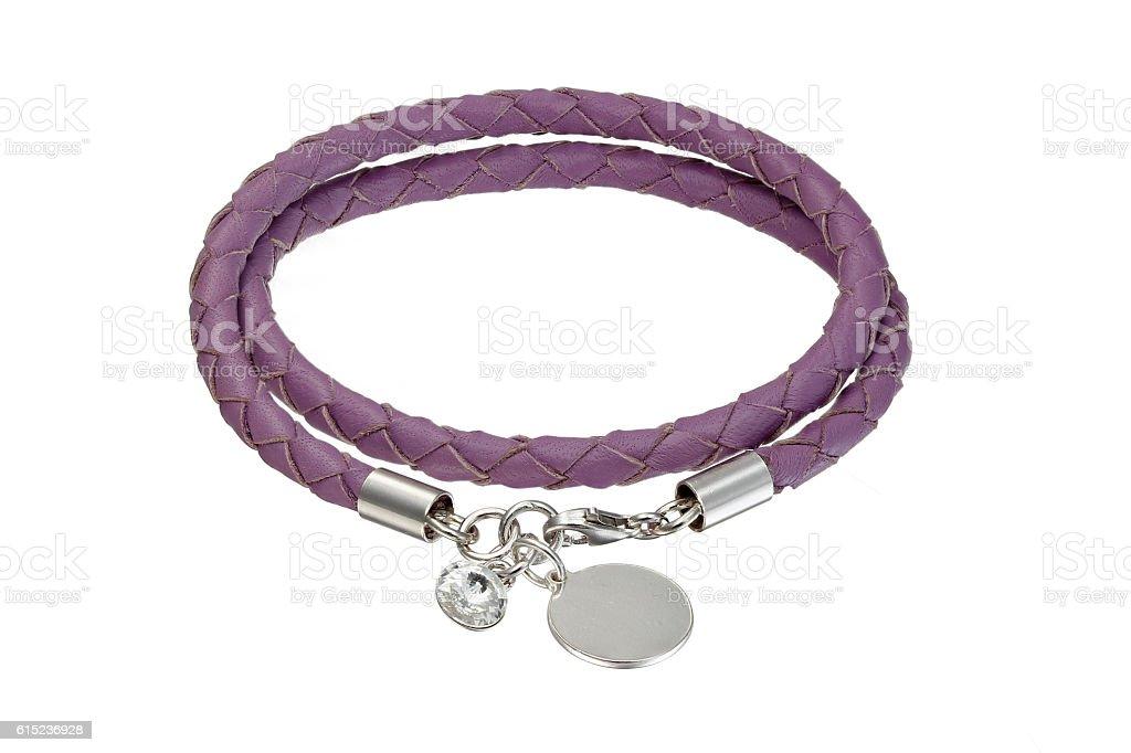 Leather bracelet on white background stock photo