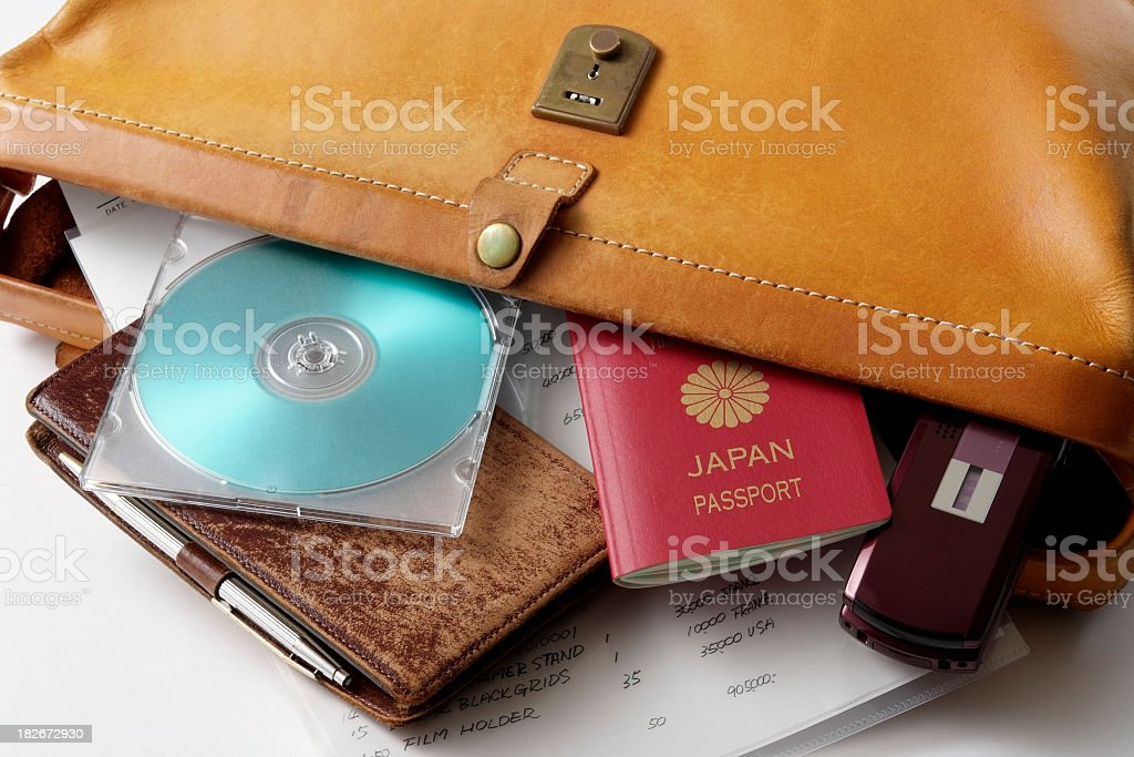 Leather briefcase for the business travel on white background royalty-free stock photo