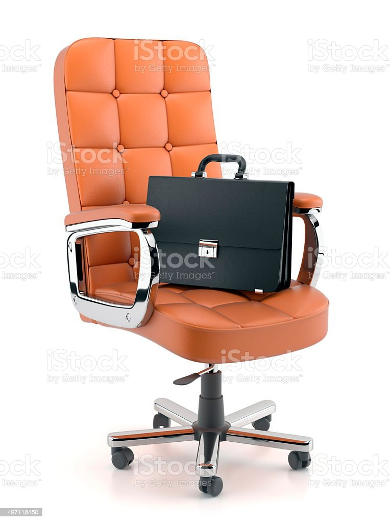 Leather briefcase on office armchair stock photo
