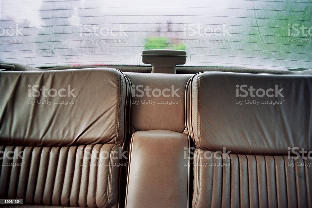 Leather Bucket Seats - 1980s Car Interior stock photo