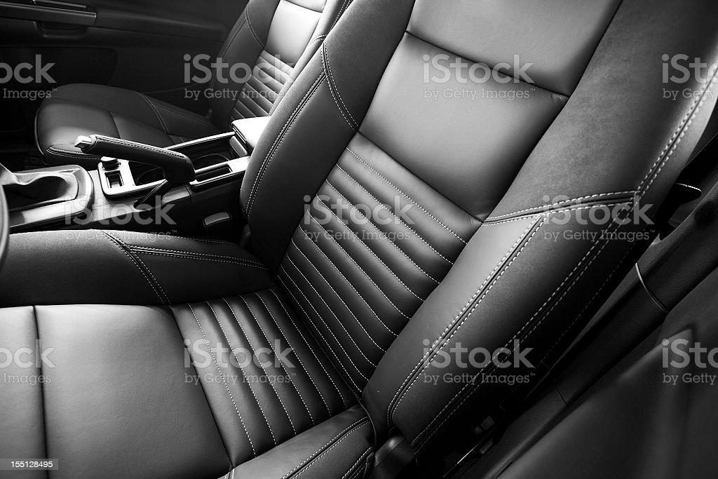 leather car seats close up stock photo