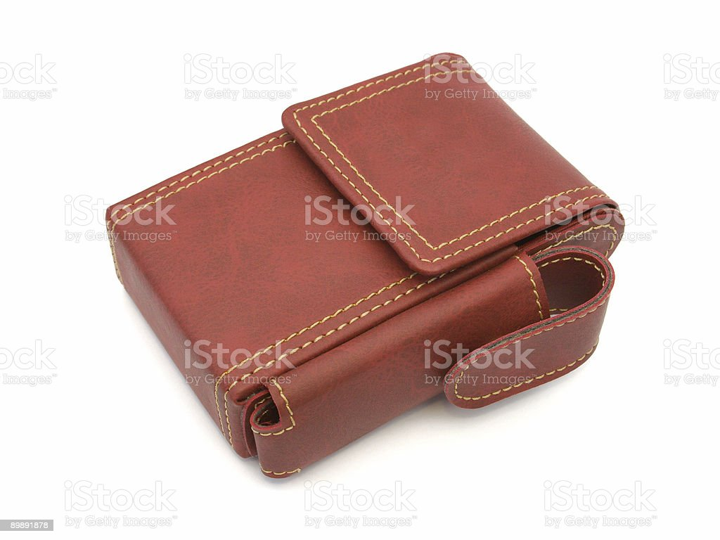 Leather case for pack of cigarettes stock photo