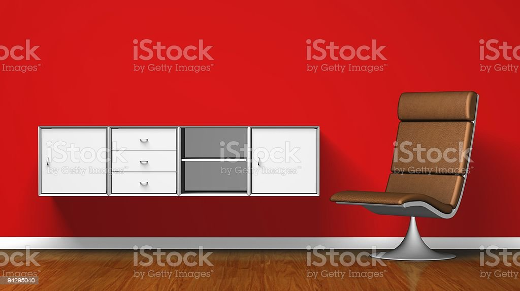 Leather chair and desk royalty-free stock photo