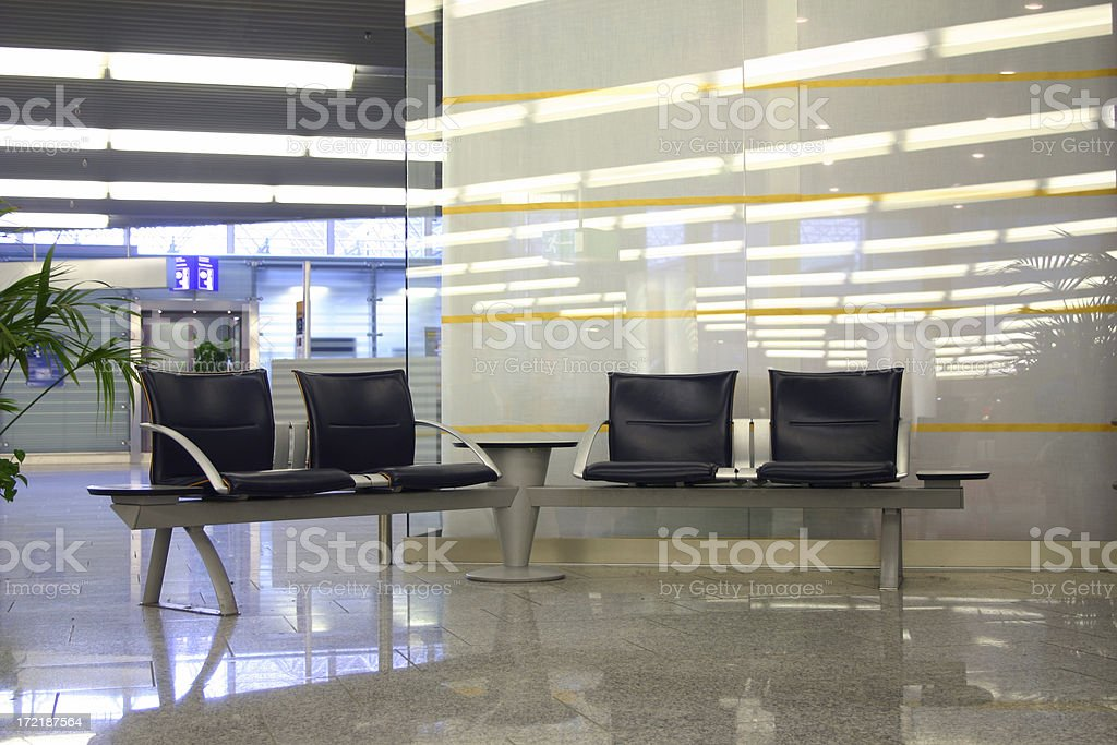 Leather chairs at the airport royalty-free stock photo