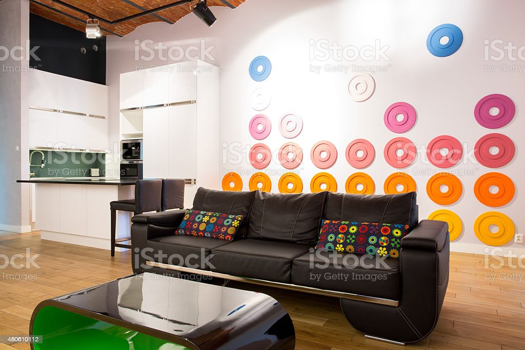 Leather couch stock photo