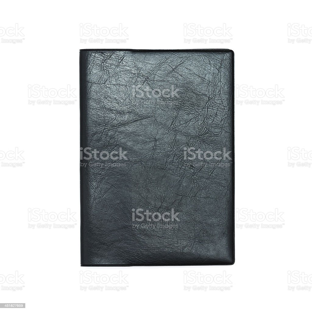 Leather covered notebook stock photo
