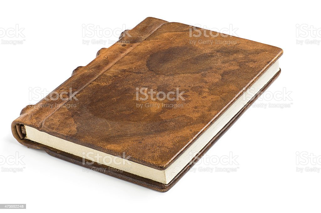 A leather covered old notebook stock photo