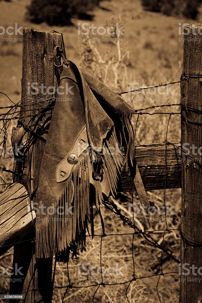 Leather Cowboy Chaps stock photo