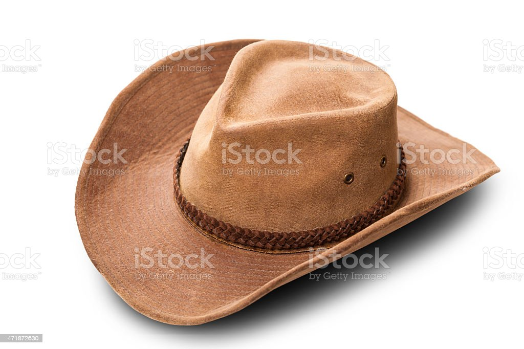 leather cowboy hat closeup stock photo