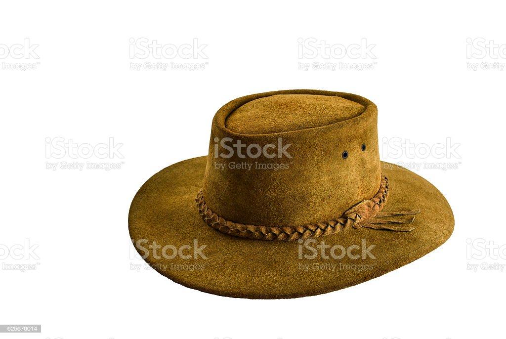 Leather cowboy hat on white background stock photo