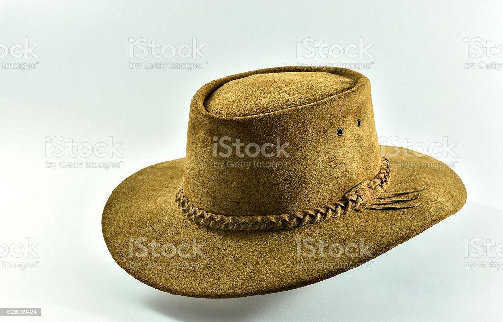 Leather cowboy hat on white background. stock photo