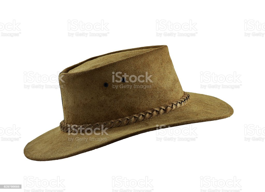 Leather cowboy hat on white background,isolated. stock photo