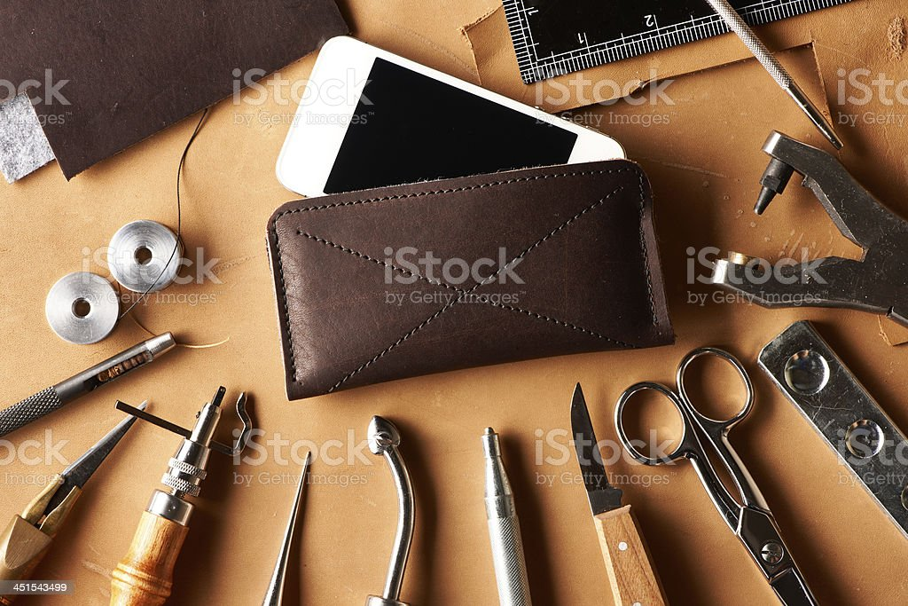 Leather crafting tools royalty-free stock photo
