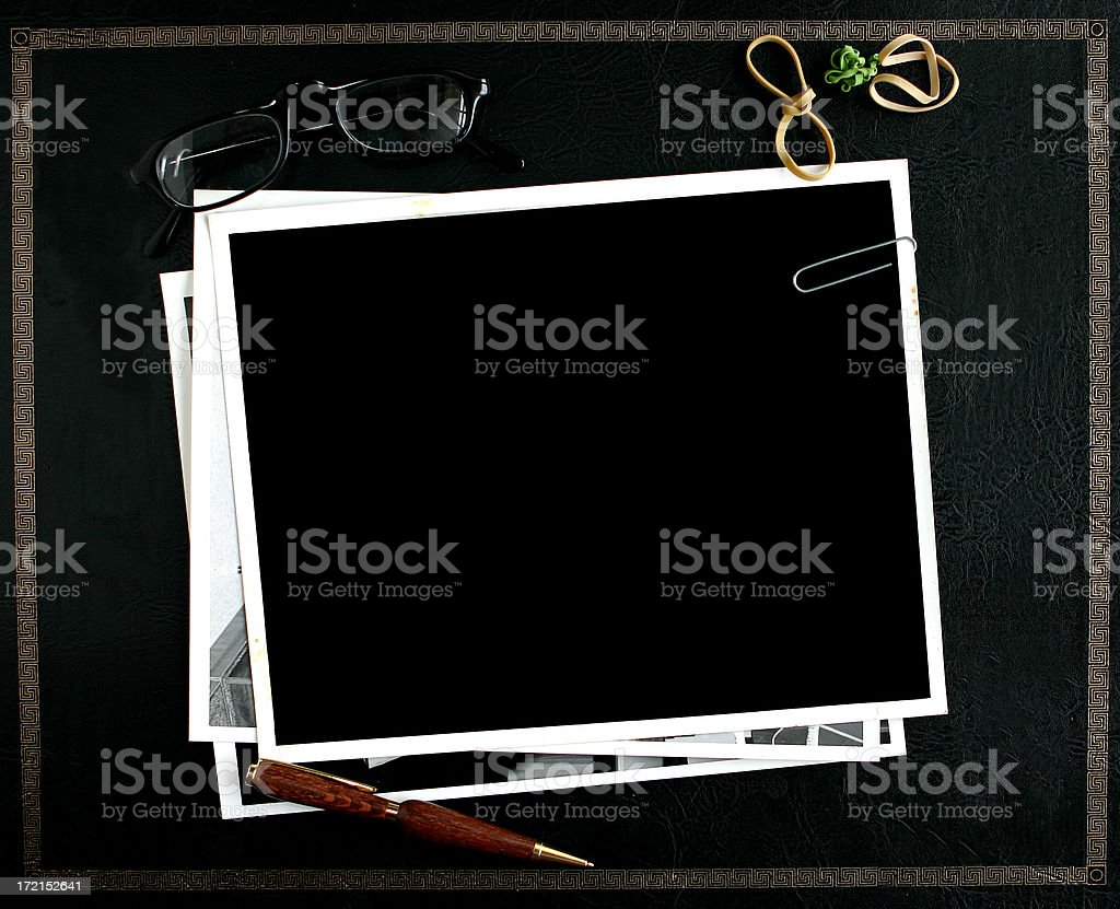 Leather Desktop Interface with Photos Frames royalty-free stock photo