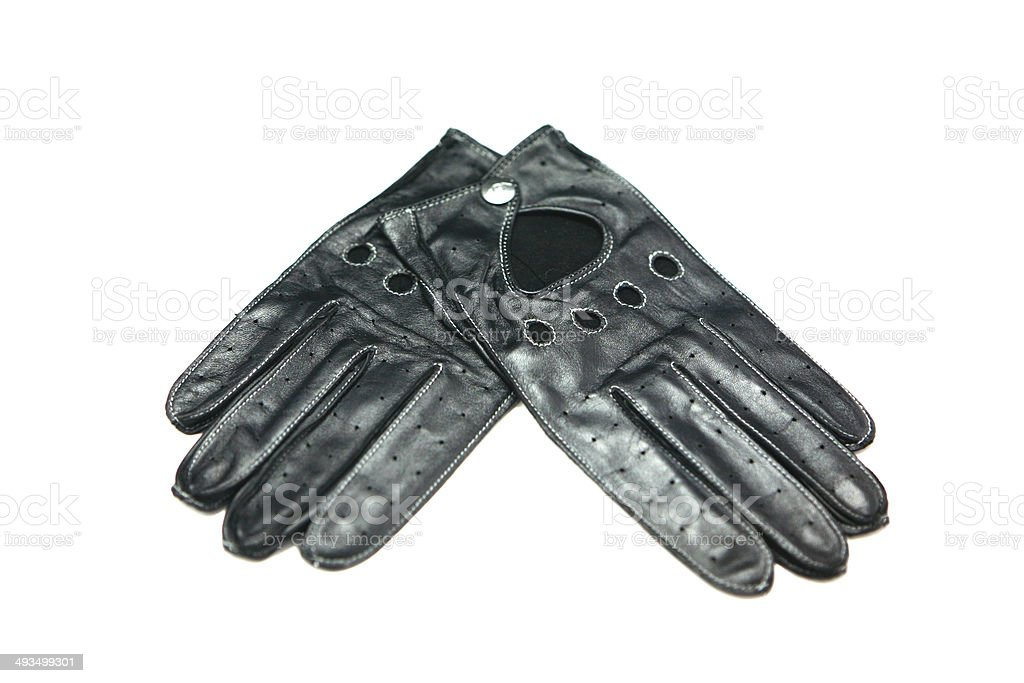 Leather Driving Gloves Isolated On White stock photo
