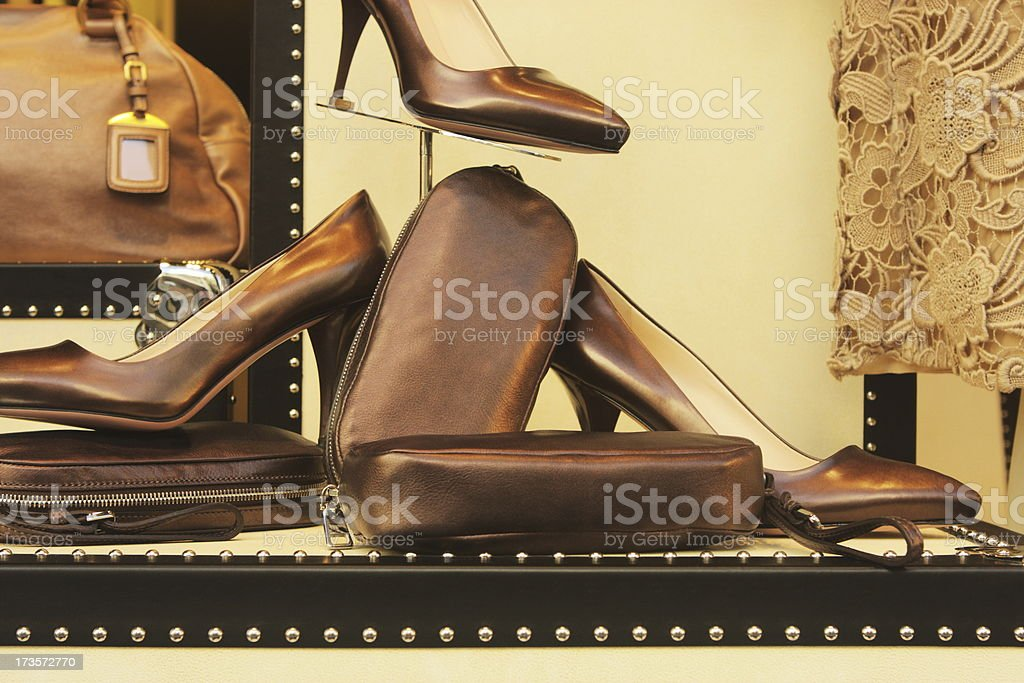 Leather Fashion Shoes Luggage Lace Retail Display stock photo