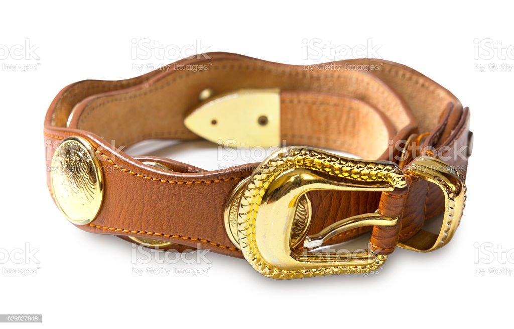 Leather female waist belt isolated on white. stock photo