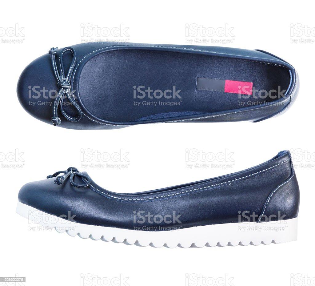 leather flat blue female shoes isolated. stock photo