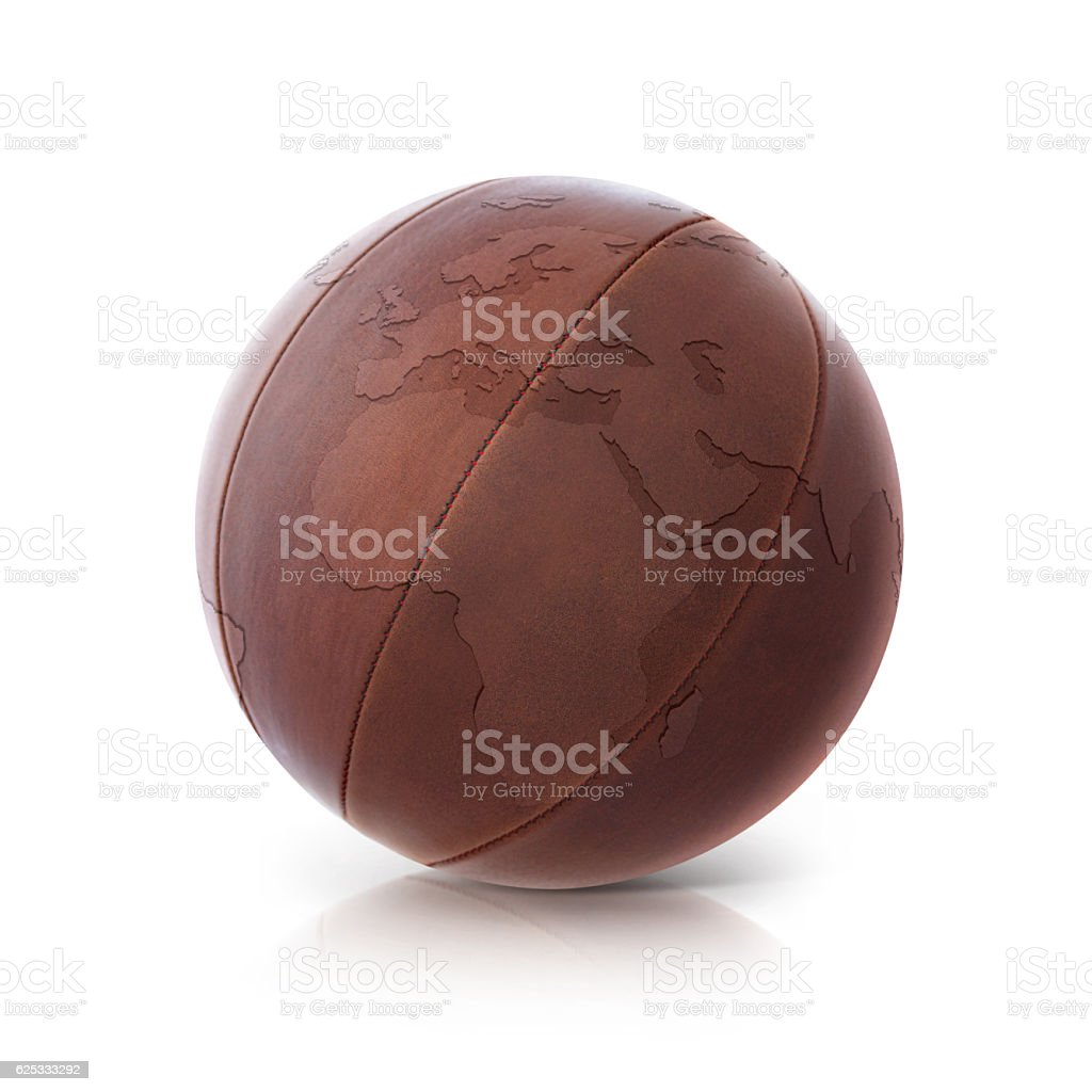 Leather globe 3D illustration europe and africa map stock photo