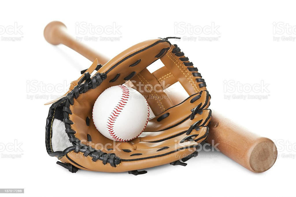 Leather glove with baseball and bat on white royalty-free stock photo