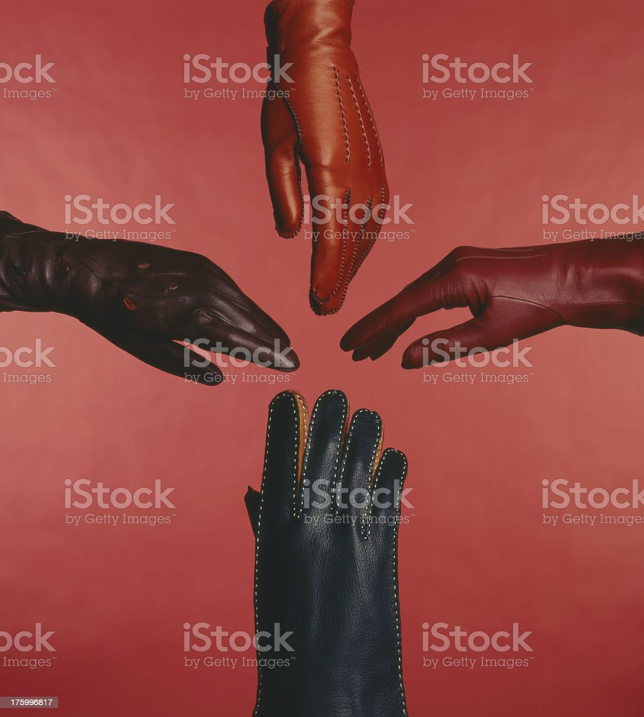 Leather gloved hands royalty-free stock photo